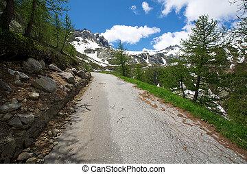 suiza, montañas, camino, peligroso