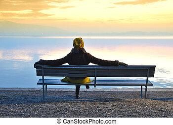 suiza, niña, zug, lago, bench.