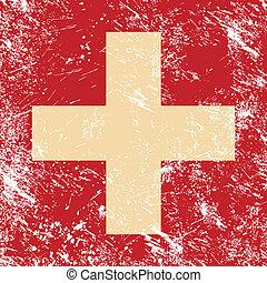 suiza, retro, bandera