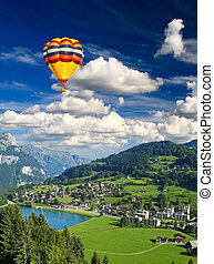 suizo, aldea, pequeño
