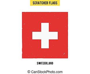 suizo, grunge, bandera, con, poco, rasguños, en, surface., un, mano, dibujado, rasguñado, bandera, de, swizerland, con, un, fácil, grunge, texture., vector, moderno, plano, design.