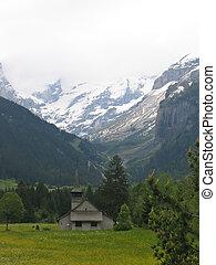 suizo, iglesia, en, alpes, suiza