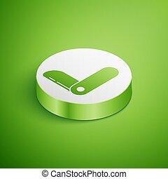 suizo, ilustración, círculo, button., multi-tool, tool., multifunctional, icono, vector, cuchillo, isométrico, aislado, penknife., verde, ejército, blanco, fondo., multiuso