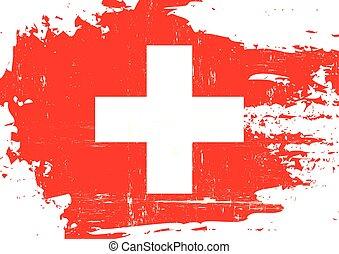 suizo, rasguñado, bandera