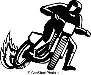 sujeira, correndo, pista, motorcyle, branca, pretas