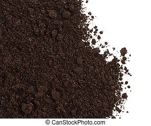 sujeira, solo, isolado, colheita, branca, ou