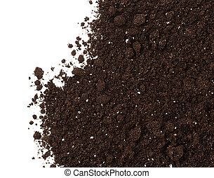 sujeira, solo, isolado, colheita, fundo, branca, ou