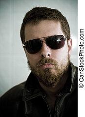 sujeito, óculos de sol, masculino