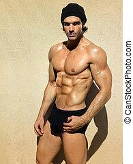 sujeito, ajustar, muscular