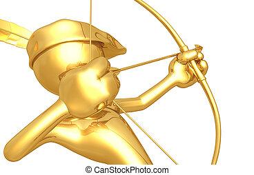 sujeito, arqueiro, ouro