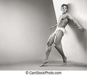sujeito, estúdio, muscular, bonito
