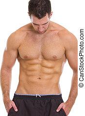 sujeito, músculos,  abdominal, mostrando,  Muscular