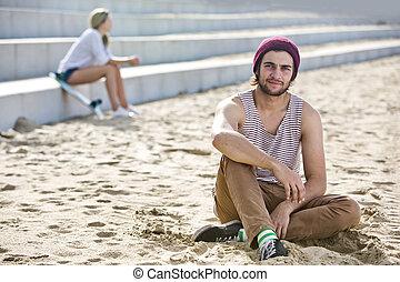 sujeito, pendurar, um, praia