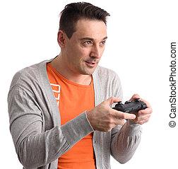 sujeito, tocando, jogo computador