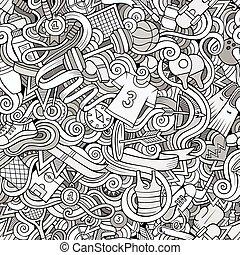 sujet, style, thème, dessin animé, hand-drawn, sports, doodles