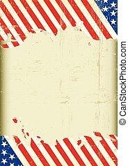 sujo, bandeira americana, super, fundo