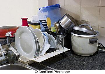sujo, cozinha