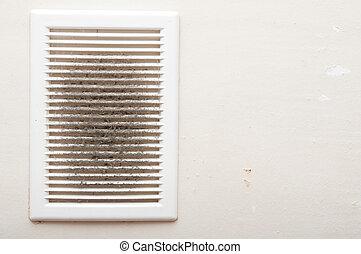 sujo, e, empoeirado, ventilação, eixo, close-up, foto