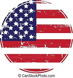 sujo, flag., grunge, americano, eua, vetorial