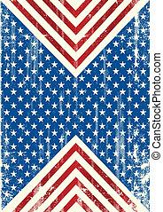 sujo, fundo, bandeira americana
