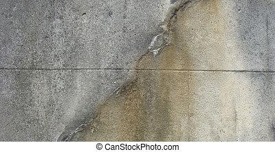 sujo, gasto, cinzento, parede, umidade