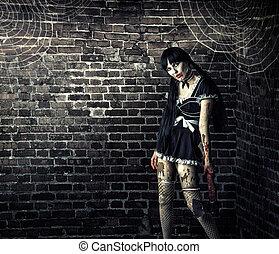 sujo, mulher, zombie, segurando, sangrento, machado
