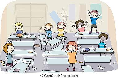sujo, sala aula, crianças, vara