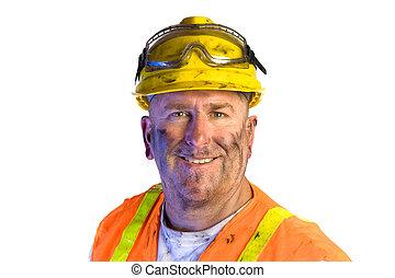 sujo, trabalhador construção, desgastar, chapéu duro