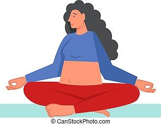 Sukhasana yoga pose, vector flat style design illustration