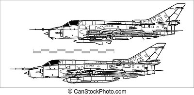 Sukhoi Su-17 Fitter. Outline vector drawing