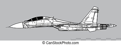 Vector drawing of modern multirole fighter. Side view. Image for illustration and infographics.