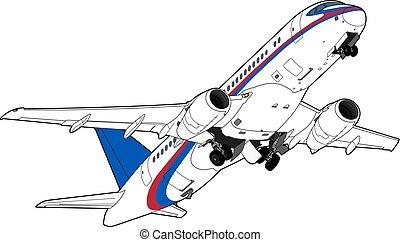 Sukhoi Superjet-100 airliner taking off. Vector illustration. Technical drawing.