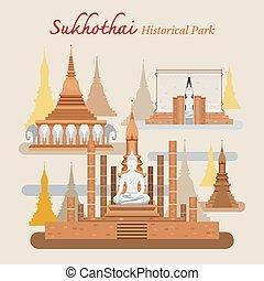 Sukhothai, Historical Park, Thailand - World Heritage,...