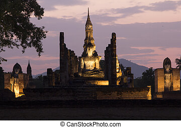 sukhothai, historisch, stadt, welt, erbe, standort