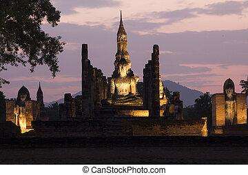 sukhothai, historyczny, miasto, świat, dziedzictwo, umiejscawiać
