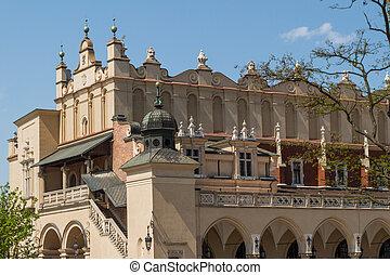 sukiennice, byggnad, in, krakow, polen