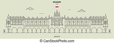 Sukiennice in Krakow, Poland. Landmark icon in linear style