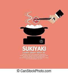 sukiyaki, japonés, dish.