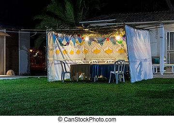 sukkah, -, 象征, 暫時, 小屋, 為, 慶祝, ......的, 猶太的假日, sukkot