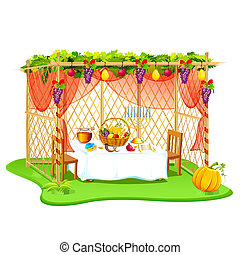 Sukkah for celebrating Sukkot - vector illustration of...