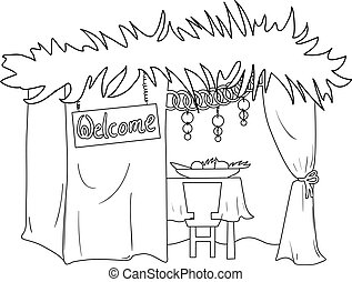 Sukkah For Sukkot Coloring Page - A Vector illustration...