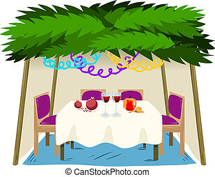 Sukkah For Sukkot With Food On Table - Vector illustration...