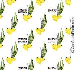 sukkot., amarillo, spicies, papeles pintados, texturas, hojas, patrón, sauce, brillante, cuatro, hebreo, palma, textile., perfecto, mirto, judío, superficie, fiesta, llena, etrog., rama