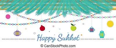 sukkot, feliz, illustration., tradicional, vector, sukkah, hebrew., feriado, judío