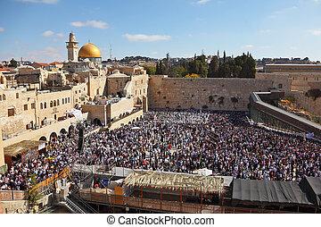 sukkot, gente, judío, feliz, -, más, feriado