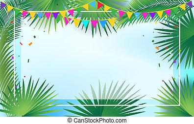 sukkot, guirnalda, hojas, árbol, decoración, palma, sukkah, marco