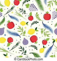 sukkot., hashana, israel, rosh, sukkot, judío, fest., hojas, árbol, seamless, otoño, patern., year., palma, nuevo, sukkah., feriado, fruits., feliz