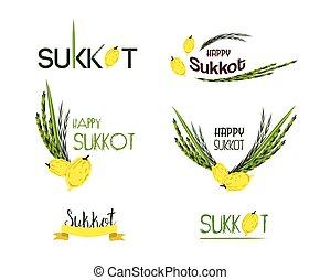 sukkot, icônes, juif, étiquettes, collection, holiday., vecteur, insignes