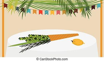sukkot, judío, ilustración, vector, ornamentos, sukkah, adornado, feriado
