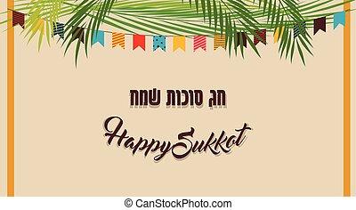 sukkot, judío, ilustración, vector, sukkah, feriado